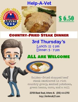 Flyer - Country-Fried Steak Dinner $6 50